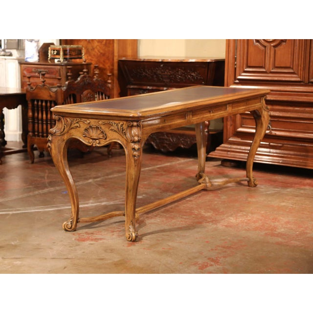 Blue Large 19th Century French Louis XV Carved Walnut Console Desk With Leather Top For Sale - Image 8 of 13