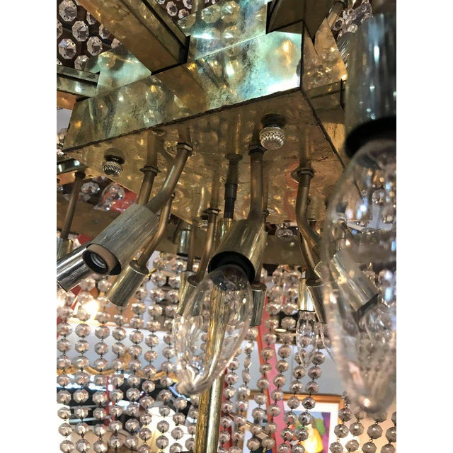 Metal Palatial Neoclassical Brass and Crystal Basket Chandelier with Hanging Prisms For Sale - Image 7 of 10