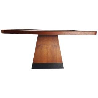 Post Modern Satinwood Cocktail Table Pyramid Base Philippe Starck Style For Sale