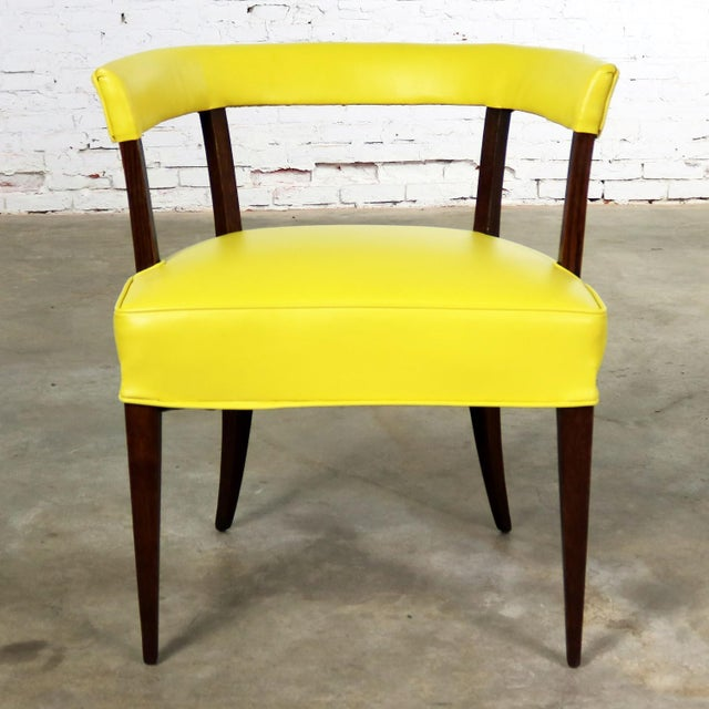 Mid Century Modern Yellow Vinyl and Oak Barrel Back Side Chair For Sale - Image 10 of 13