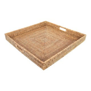 Large Square Wicker Woven Honey Colored Tray For Sale