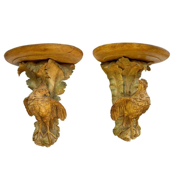 Chestnut French Polychromed Carved Brackets With Quail - a Pair For Sale - Image 8 of 8