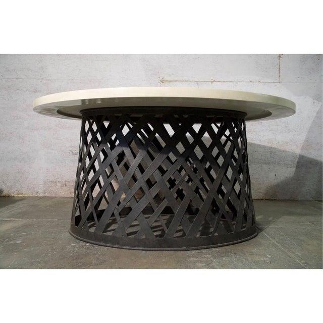 Brutalist Basket Weave Dining Table For Sale - Image 3 of 6