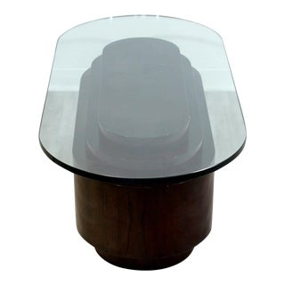 Art Deco Style Coffee Table Walnut Veneer Base W Oval Glass Top For Sale