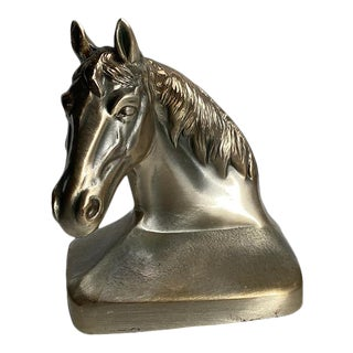 Traditional Solid Bronze Brass Horse Bookend For Sale