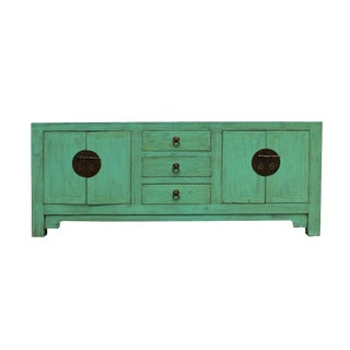 Distressed Teal Blue Wood Pattern Low Console Table Cabinet For Sale