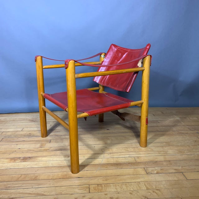 Red Leather and Birch Safari Chair, 1980s For Sale - Image 9 of 9