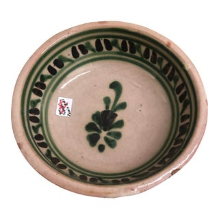 Vintage Mexican Ceramic Pozole Bowl Hand Painted Grape Vine Flower Design For Sale
