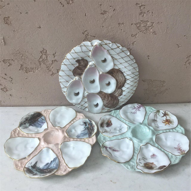 Pink Limoges French Oyster Plate Porcelain With Turkey Pattern For Sale - Image 8 of 12