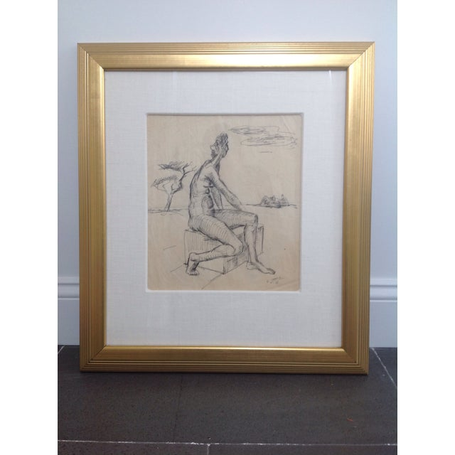 Ernst Stolz Charcoal Drawing For Sale - Image 4 of 8