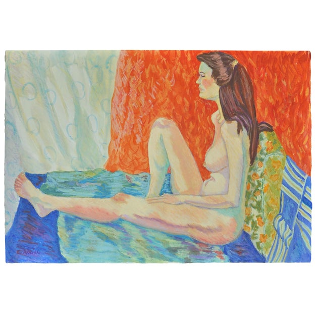 "Esther Akrish ""Pensive"" Original Watercolor For Sale"