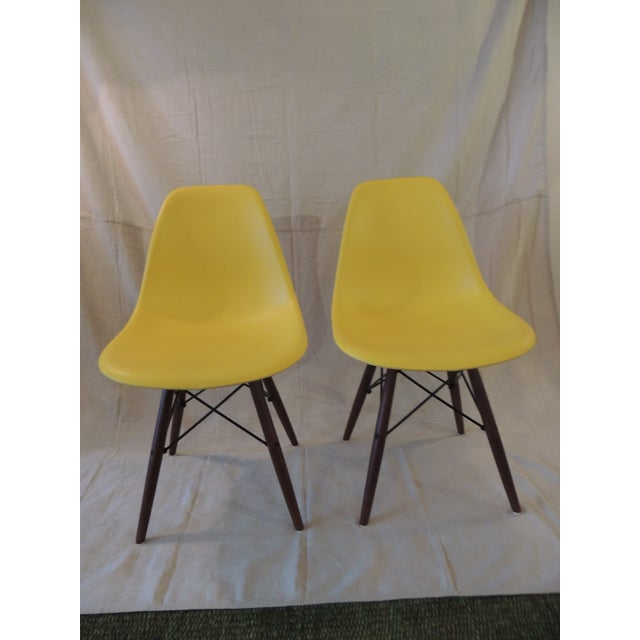 Eames Style Yellow Molded Plastic Side Chairs - a Pair For Sale In Miami - Image 6 of 7
