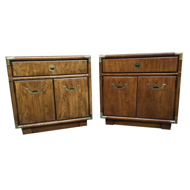 Drexel Heritage Campaign Nightstands - A Pair - Image 1 of 4