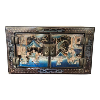 Antique Chinese Qing Era Hand Painted & Lacquered Scholar's Chest For Sale