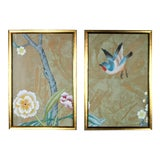 Image of Chinoiserie Wallpaper Diptych Paintings on Patinated Metallic Copper Silk - 2 Pieces For Sale