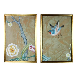 Chinoiserie Wallpaper Diptych Paintings on Patinated Metallic Copper Silk - 2 Pieces For Sale