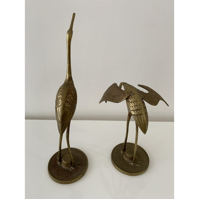 Brass Crane Figurines - a Pair For Sale - Image 4 of 10