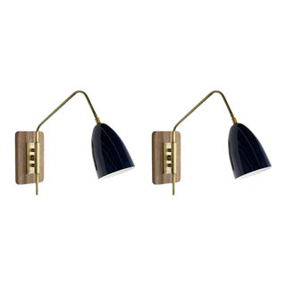 "Brass & Midnight Enamel ""Elska"" Wall Sconces For Sale"