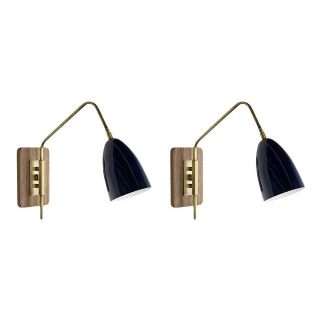 "Brass & Midnight Enamel ""Elska"" Wall Sconces For Sale"