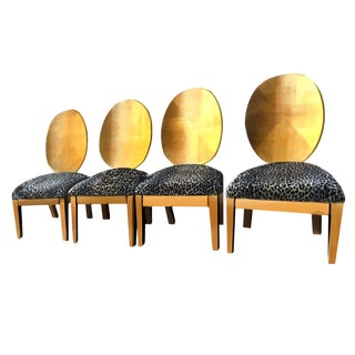 Art Deco Style Jindrich Halabala Style Cerused Pecan Spoon Back Chairs - Set of 4 For Sale