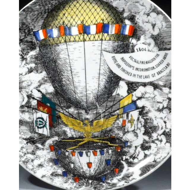 Mid-Century Modern Vintage Piero Fornasetti Mongolfiere (Hot Air) Balloon Porcelain Plate, #12 in Series, 1950's. For Sale - Image 3 of 4