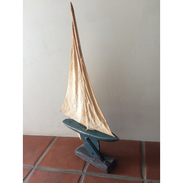 Rustic Wooden Sailboat - Image 5 of 6