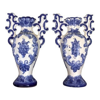 1970s Portuguese Blue White Ceramic Vases - a Pair For Sale