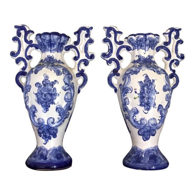 1970s Portuguese Blue White Ceramic Vases A Pair Chairish