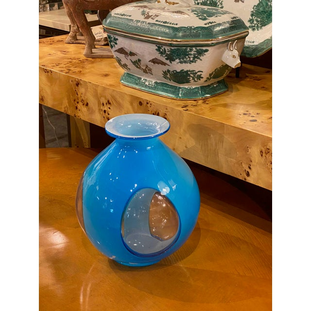 Late 20th Century Late 20th Century Blue Art Glass Vase For Sale - Image 5 of 6
