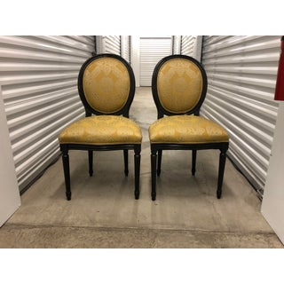 1960s Vintage Trouvailles Inc. Yellow Upholstered Wooden Chairs- Set 2 Preview