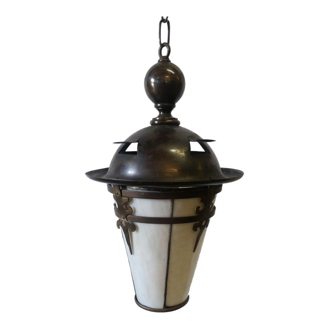 Gothic Arts and Crafts Brass Pendant Light For Sale
