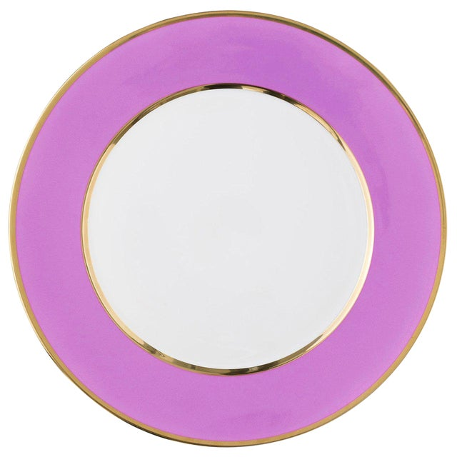 """""""Schubert"""" Charger in Pink & Narrow Gold Rim For Sale"""