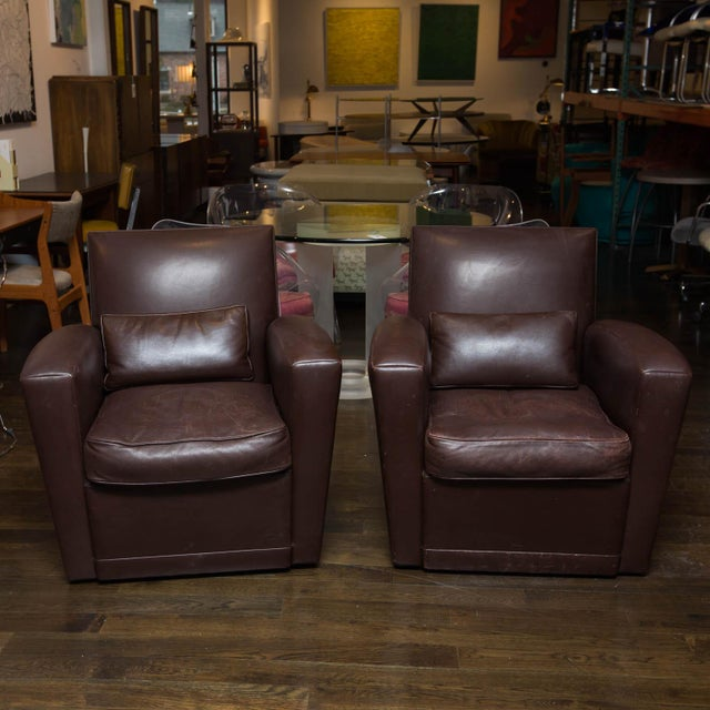 Holly Hunt Brown Leather Swivel Chairs - Image 11 of 11