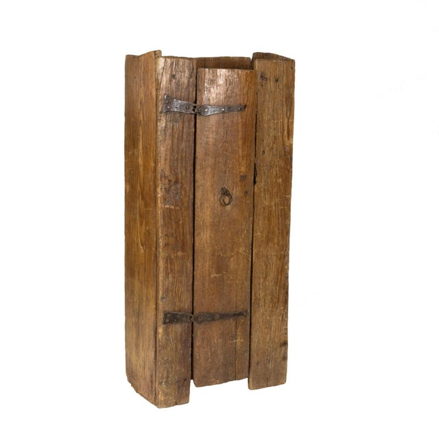 Very Rustic Italian Chestnut Single Door Cabinet With Wrought Iron Hinges, Circa 1720. For Sale - Image 13 of 13