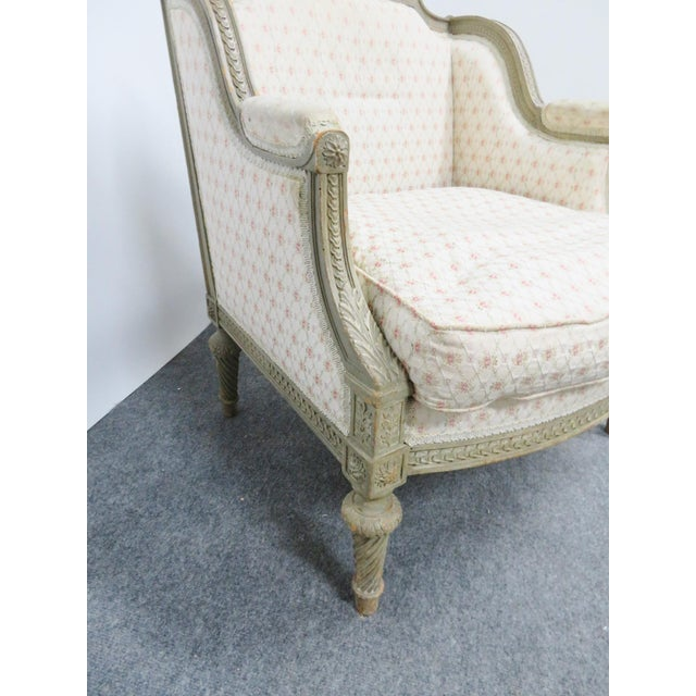Louis XIV Paint Distressed Bergere Chair For Sale In Philadelphia - Image 6 of 8