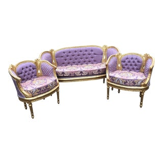 Vintage 1900's French Louis XVI Corbeille Living Room Set- 3 Pieces For Sale