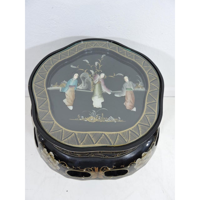 Late 20th Century Vintage Chinese Black Lacquer Figural Side Table With Glass Top For Sale - Image 5 of 7
