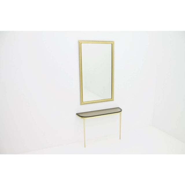Metal Solid Brass and Glass Wall Console, 1960s For Sale - Image 7 of 10