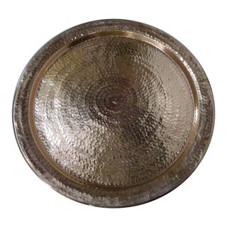 "Moroccan Hand Hammered Copper Serving Tray 20"" For Sale"