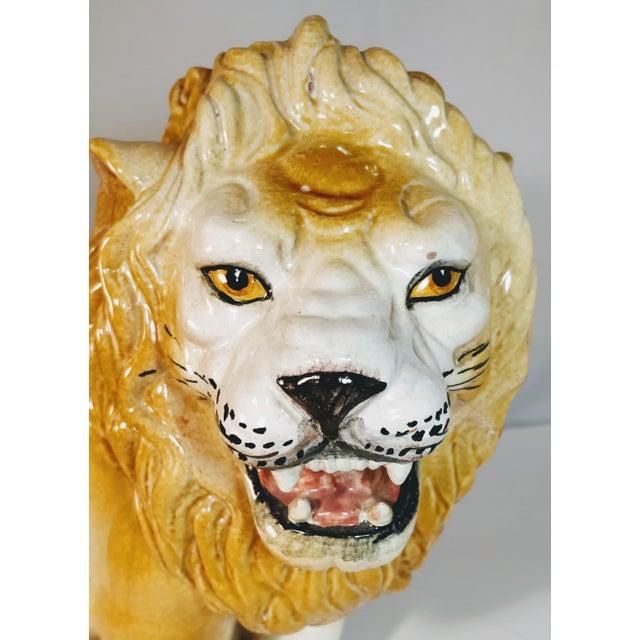 Ceramic Vintage Italian Lion Terra Cotta Figurine For Sale - Image 7 of 13