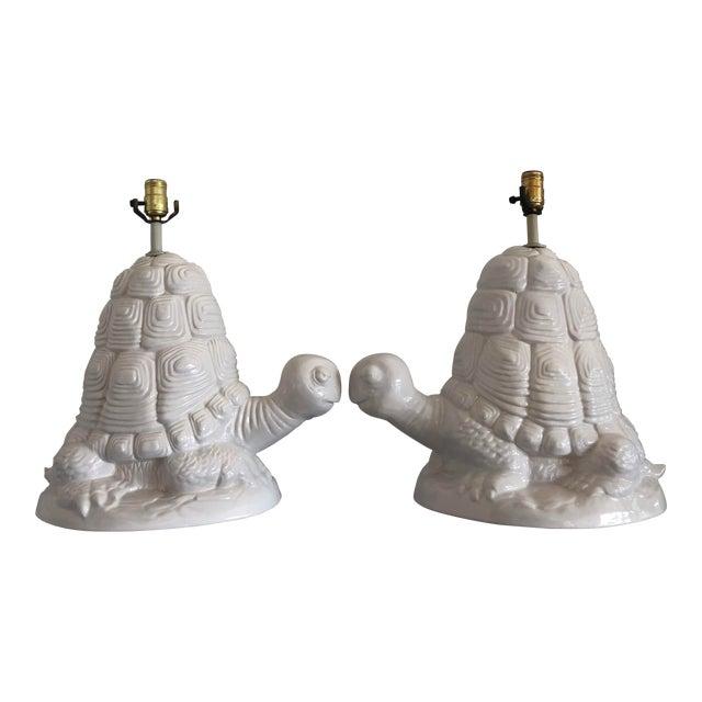 Retro White Ceramic Turtle Lamps - a Pair For Sale