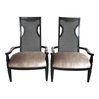 1940s Mid-Century-Modern Velvet Chairs- a Pair For Sale