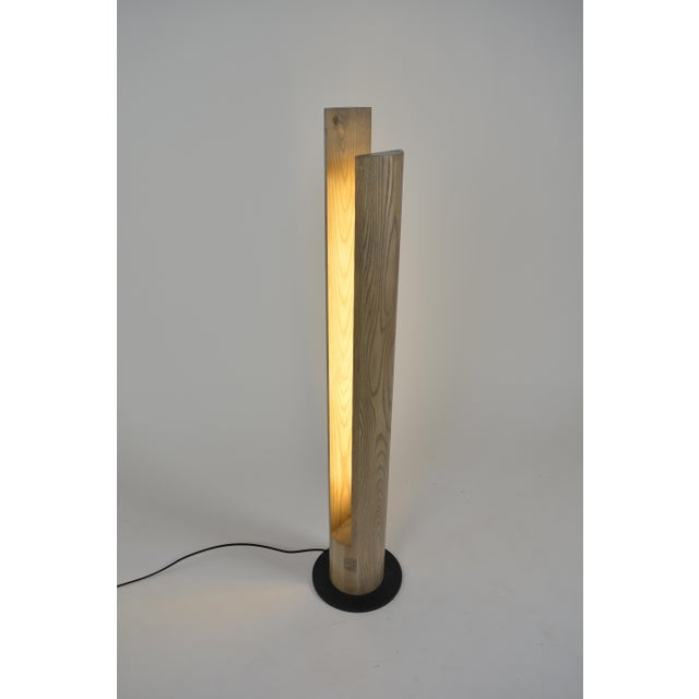Ovuud Slot Over-Sized Wooden Column Dowel Led Floor Lamp With Steel Base For Sale In Philadelphia - Image 6 of 6