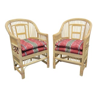 Andre Originals Chinoiserie Style Rattan Chairs - a Pair For Sale