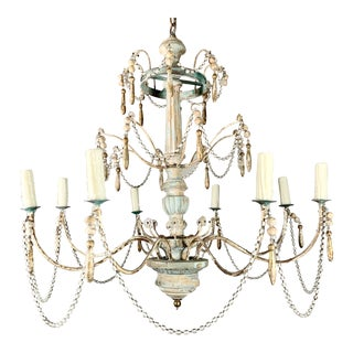8-Light Painted Wood and Metal Chandelier For Sale