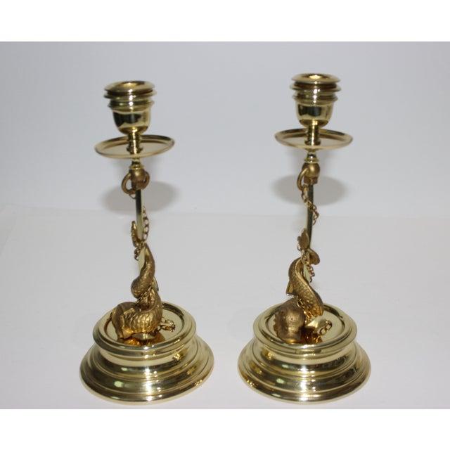 Italian Gilt Bronze Candlesticks Sea Serpent Anchor Motif Italy Circa 1900 - a Pair For Sale - Image 3 of 13