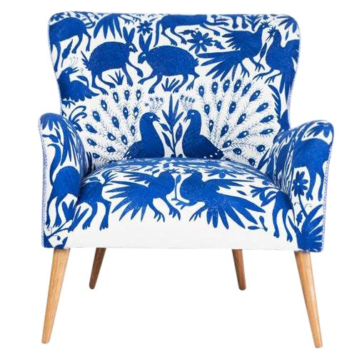 1960s Boho Chic Blue and White Embroidered Lounge Chair For Sale - Image 11 of 11