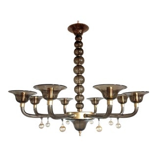 Large 8 Lights Mid-Century Modern Gray Murano Glass Chandelier Italy 1970s For Sale