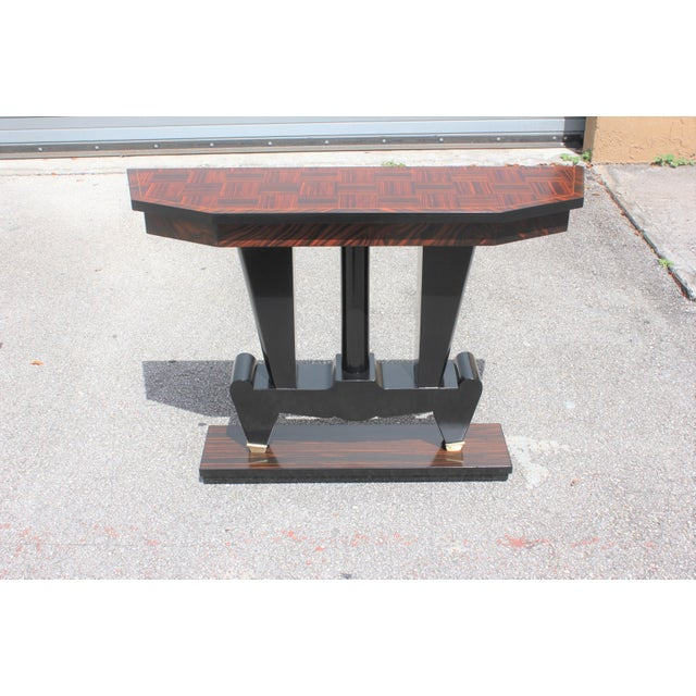 1940s French Art Deco Macassar Ebony Console Table For Sale - Image 10 of 13
