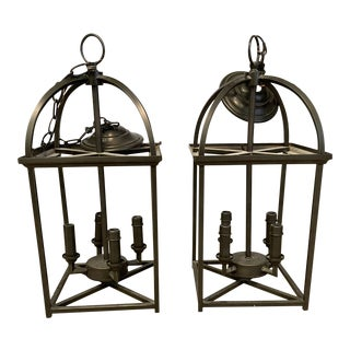 Oil Rubbed Bronze Metal Lanterns - a Pair For Sale